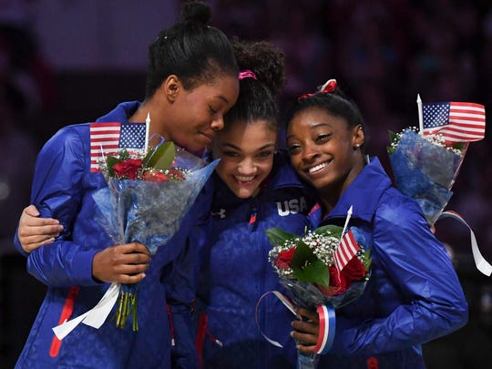 July 10, 2016; San Jose, CA, USA; Gabby Douglas (left), Laurie Hernandez (center), and Simone Biles (right) hug after the women's gymnastics U.S. Olympic team trials at SAP Center. Mandatory Credit: Kyle Terada-USA TODAY Sports