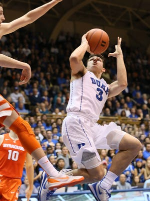 Duke guard Grayson Allen, shown here in a Jan. 18 loss to Syracuse, is putting up player of the year numbers but it's not leading to wins.