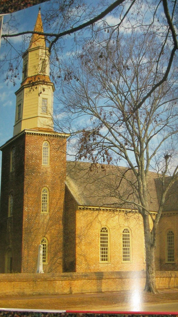 The Bruton Parish Church (Episcopal) was the only church in Williamsburg for many years and the most important church in colonial Virginia. It has been in continual use since 1715.