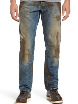 The Barricuda Straight Leg Jeans at Nordstrom come precaked with a mud-like substance that won't wash out.
