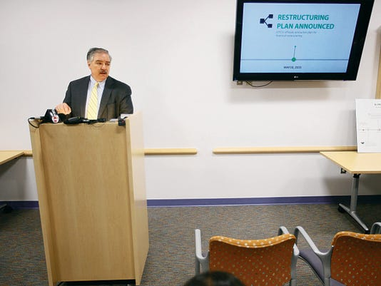 VICTOR CALZADA-EL PASO TIMES El Paso Children's Hospital CEO Mark Herbers talks about the hospital's filing for Chapter 11 bankruptcy during a press conference Tuesday at the hospital.