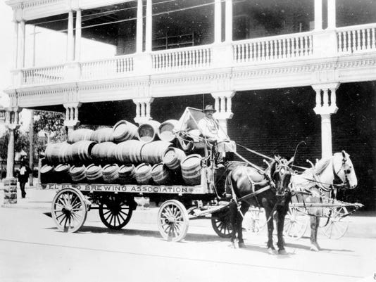 A 1910 photo of a beer wagon going east on St. Louis Street (now Mills) near the corner of what's now North Mesa Street, with Hotel Orndorff in the background, in 1910. The El Paso Brewing Association's brewery and offices were at the corner of Frutas and Stevens streets.