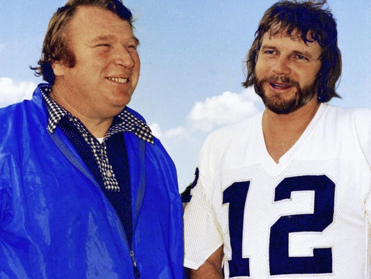 In this 1977 file photo, Kenny Stabler is pictured with his coach, John Madden, during his playing days with the Oakland Raiders.Stabler has died as a result of complications from colon cancer. He was 69.