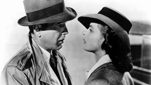 Ingrid Bergman shares a scene with Humphrey Bogart