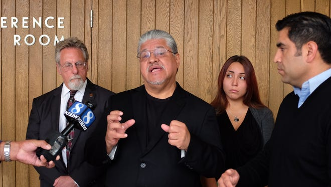 Author and peace activist Luis J. Rodriguez talks to the media on Monday about establishing a new youth-violence intervention project in Salinas. Flanking him are, from left, attorney Anthony Prince, Naomi Thomas, and city council member Jose Castañeda.