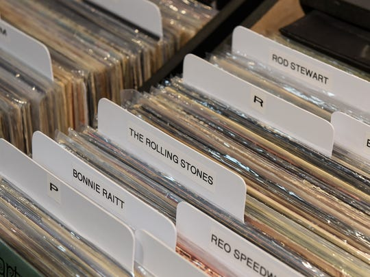 A small selection of vinyl albums available Thursday, Nov. 3, at Fan HQ Rock N Jock inside Crossroads Center in St. Cloud.