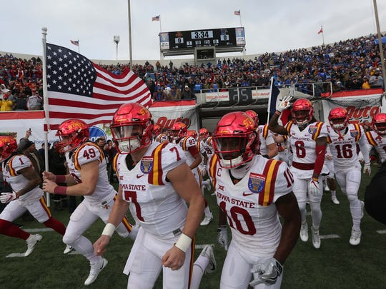 Cyclones enter the stadium before the AutoZone Liberty Bowl Saturday, Dec. 30, 2017, in Memphis, Tennessee. ISU lead Memphis at the half, 14-10.