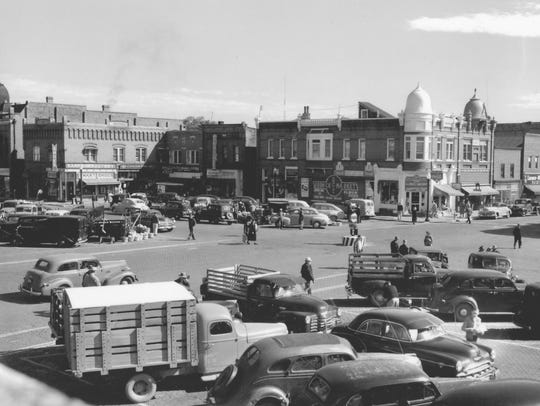 A photo of the Mathias Mitchell Public Square in downtown
