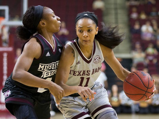 Texas A&M guard Curtyce Knox (11) drives inside against Mississippi State guard Morgan William (2) during the first half of an NCAA college basketball game, Sunday, Feb. 19, 2017, in College Station, Texas. (AP Photo/Sam Craft)