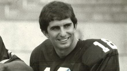 John Quinn threw for 226 yards in a 34-13 romp over No. 8 Missouri in 1981.