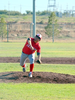Loving's Josh Leija fires a pitch in game one of Thursday's doubleheader against Carlsbad JV.