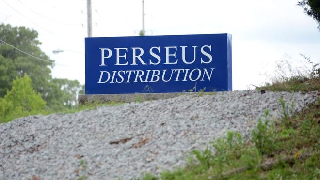 File photo of a sign for Perseus Distribution in Jackson