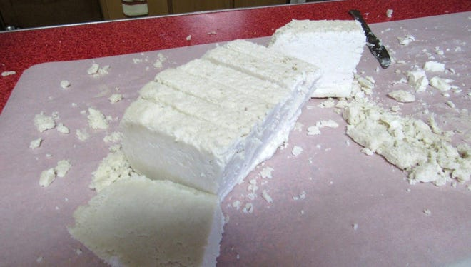 Two days later the solid mix was cut into bars—two additional weeks were needed for the chemical reaction to make this soap.