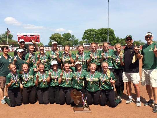 The Laconia softball team poses with its Division 3