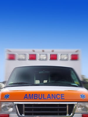 Front view of an ambulance in motion