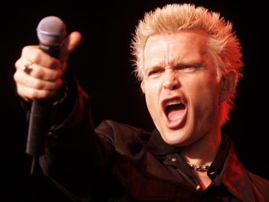 Billy Idol is seen during a July 2001 performance at