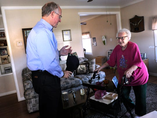 U.S. Congressman Mike Conaway of the 11th District visits with Margie Walker in Ballinger after delivering her daily Meals on Wheels lunch to her Wednesday Feb. 22, 2017. The Runnels County meals program was taken over last year by Meals on Wheels Plus, Inc. in Abilene after it was cut from the county budget.