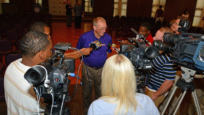 Northwestern State track and field coach Leon Johnson speaks to the media regarding his selection as an inductee into the Southland Conference Hall of Honor. He previously coached for Opelousas High School.