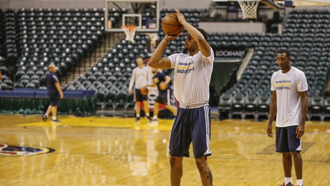 Xavier's Trevon Bluiett shoots during a workout for the Indiana Pacers at Bankers Life Fieldhouse on Monday, May 22, 2017.