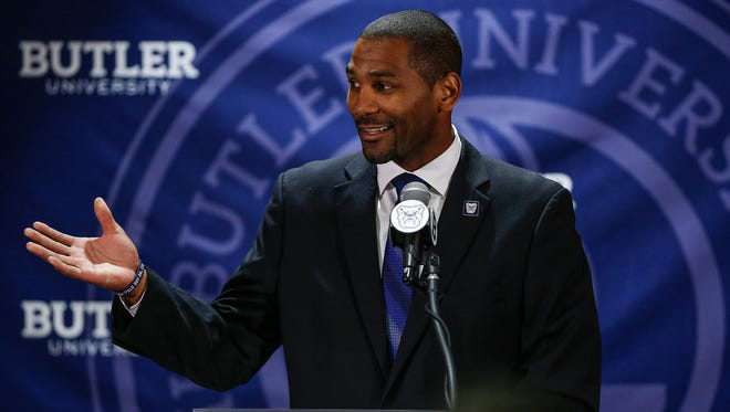 LaVall Jordan speaks to the crowd gathered after being introduced as the Butler men's basketball coach at Hinkle Fieldhouse on Wednesday, June 14, 2017.