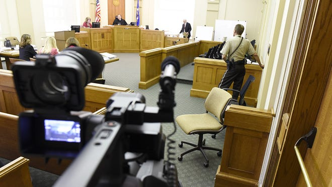 A rare courtroom image shows Day 3 of the civil  trial in the case of Eric Johnson versus the city of Cold Spring at the Stearns County Courthouse in August 2015.