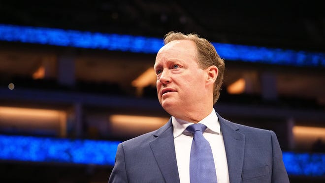 Mar 22, 2018; Sacramento, CA, USA; Atlanta Hawks head coach Mike Budenholzer on the sideline during the fourth quarter against the Sacramento Kings at Golden 1 Center.