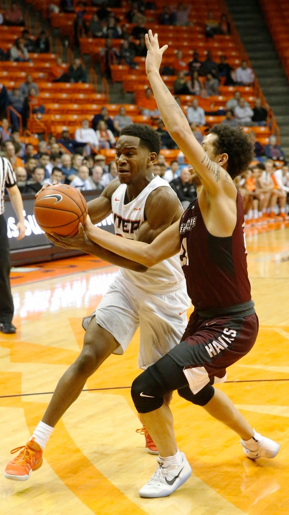 UTEP guard Dominic Artis drives to the basket during a recent game played at the Don Haskins Center.