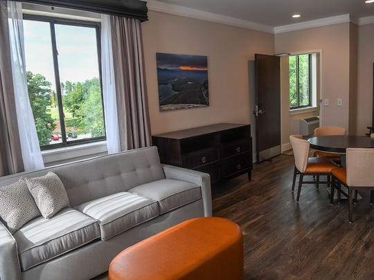 A stadium view room, where a guest can see Memorial Stadium, at The Abernathy in Clemson on Wednesday.