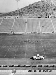 A photo of Sun Devil Stadium's field on its opening