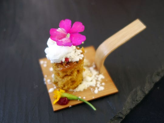 Spiced cake with Marcona almond crumble, frozen Kiawe