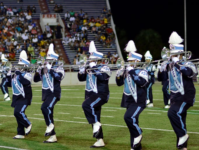 The Sonic Boom performs during halftime at the 5th