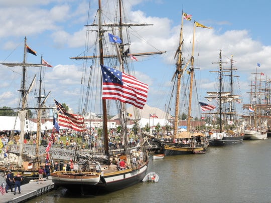 Vessels line the bank of the Fox River during the 2010 Tall Ship Festival.