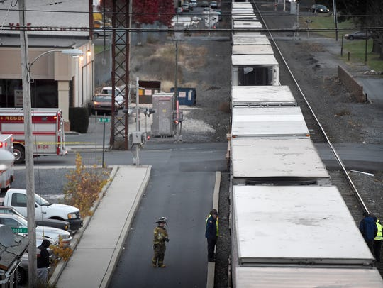 A pedestrian was struck by a train on the railroad