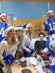 This is the day in December that Lauren Madden (second cheerleader from the left) took a chance and asked for a job at Riley. She was at the hospital as a Colts cheerleader singing Christmas carols to sick children.