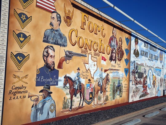 This mural, painted by artist Stylle Read, celebrates the military history of San Angelo, beginning with a panel about Fort Concho.