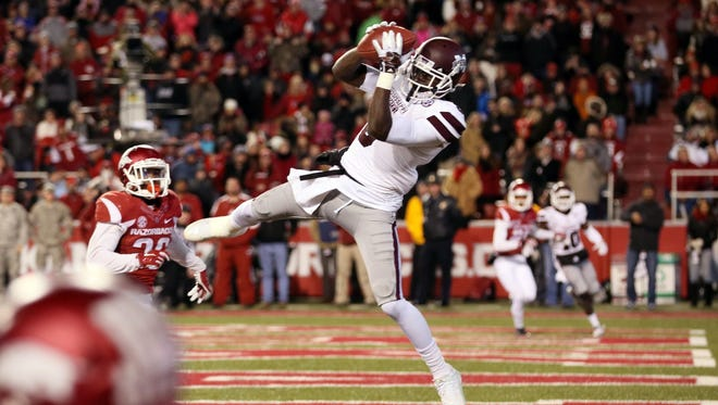 Mississippi State's Fred Brown is trying to assert himself as a leader with the wide receiver group this spring.