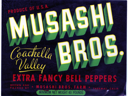 Advertisement for bell peppers from Musashi Bros. Farms