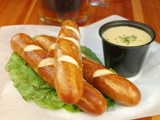 Pretzel rods with stone-ground spicy mustard and beer cheese. Yes, please.
