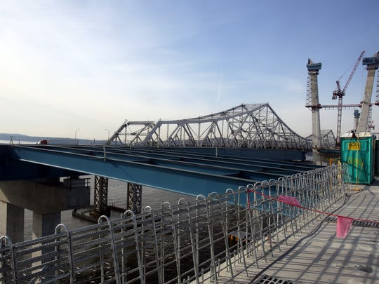 One of three roadway connections between the two spans