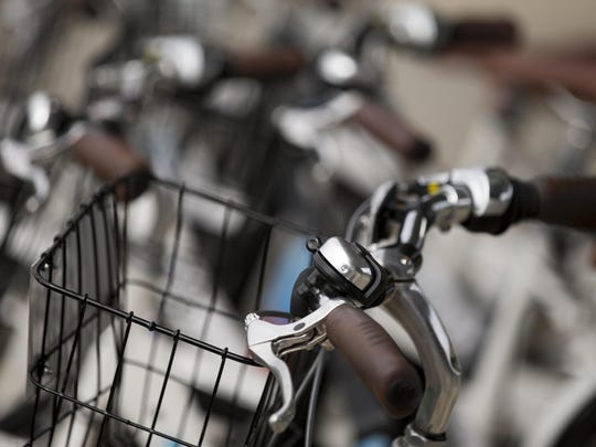 Detail of bikes at a Zagster terminal at the Monon Community Center.
