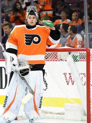 Alex Lyon was good in the preseason, a .924 save percentage in four games, but has struggled so far with the Lehigh Valley Phantoms this season.