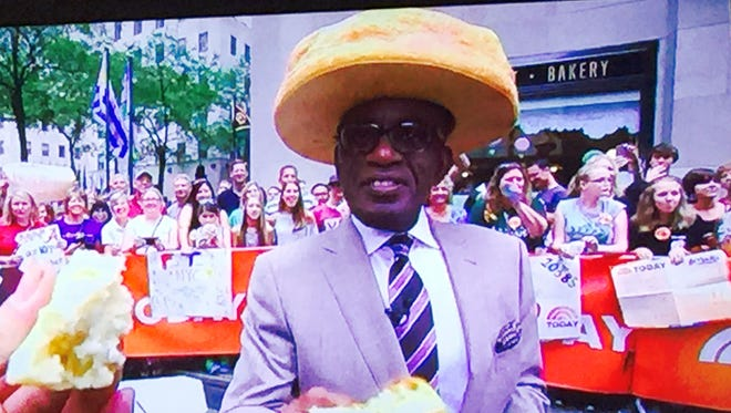 Al Roker wears Montgomery Biscuits headgear during a live shout-out to the team on Wednesday.