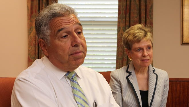 Peter Mustich, the outgoing superintendent of the Rye Neck School district and newly appointed superintendent, Barbara Ferraro, the former high school principal, are pictured in the district office on Mamaroneck, Aug. 17, 2016.