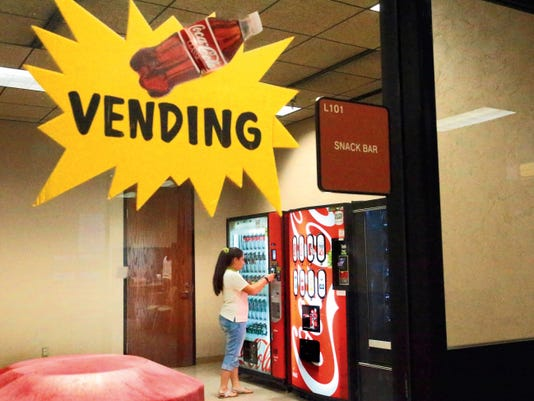 The vending machines in the basement of the El Paso County Courthouse offer mostly sodas, tea and water.