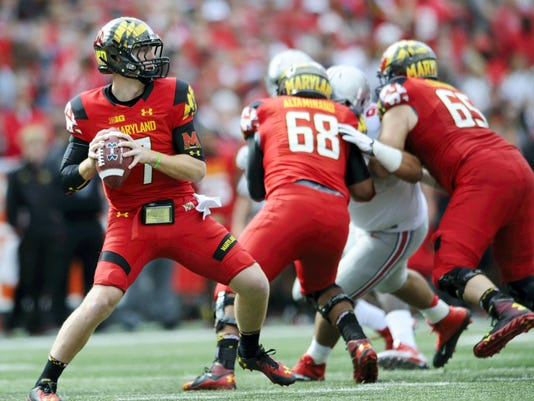 Maryland quarterback Caleb Rowe looks to pass during last season's game against Ohio State. Coach Randy Edsall hasn't yet named a starting quarterback for this season.