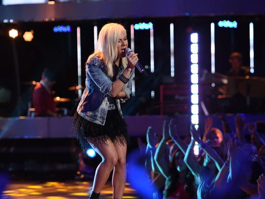 """Jax performs """"Empire State of Mind, Part II Broke Down"""" by Alicia Keys on """"American Idol"""" on April 29 when she was named to the Top 4."""