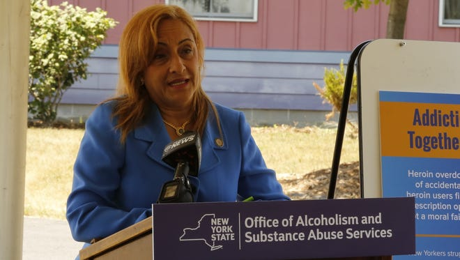 Arlene González-Sánchez, Commissioner of NYS OASAS, announces $1 million in annual funding for Cayuga Addiction and Recovery Services at its facility in Trumansburg on Thursday afternoon. The funding will go to support 25-new beds on the property.