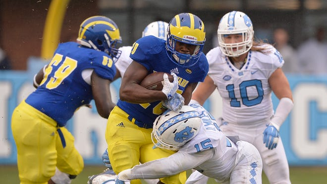 Delaware's Thomas Jefferson carries the ball against North Carolina.