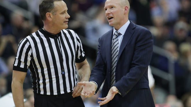Feb 22, 2017; Newark, NJ, USA; Seton Hall Pirates head coach Kevin Willard pleads with an official after a call during the second half at Prudential Center. Seton Hall won 71-64. Mandatory Credit: Vincent Carchietta-USA TODAY Sports