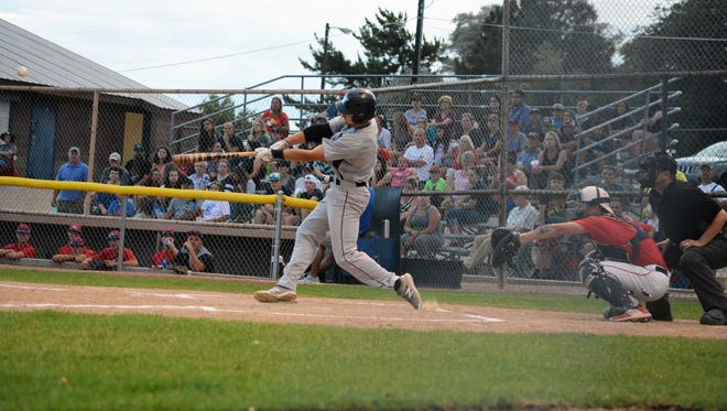 The Frackers' Dominic DeMarco hits a solo home run in the first inning against the ClubSox in Thursday's exhibition game at Worley Field.
